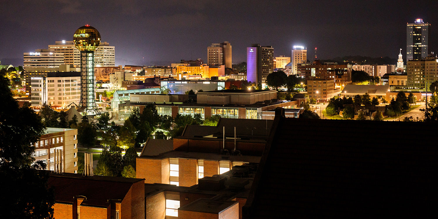 Knoxville skyline at night.
