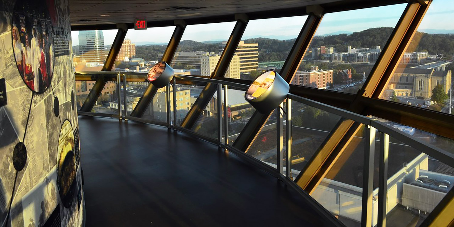 View of Knoxville from inside the Sunsphere.